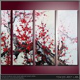 手描き(肉筆)油絵紅梅の和モダン絵画赤い梅の花【代引無料】人気の新STYLE油彩画一歩先行くあなたのお部屋へ!和風和柄の絵画リビング和室玄関の壁にオフィスホテルに飾るディスプレイ【RCP】org[fl][wa]
