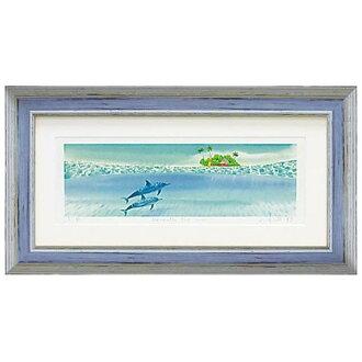 在屋簷下晴喬遷風景繪畫水彩觸摸或藝術小組自然海下藝術無框畫風水自然可愛的圖片牆喜慶禮品的禮物媽媽的天靛藍藍色藍色 indigoblue 畫