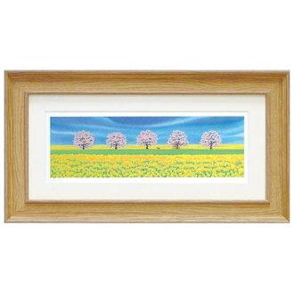 《版畫》春天有nomichikurinokiharumi風景畫水彩接觸櫻花藝術面板天然藝術架子繪畫額頭的風水自然可愛的繪畫墻壁裝飾祝賀禮品禮物母親節祝賀新居建成靛青色blue indigoblue繪畫
