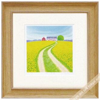 《版畫》有像春天的農場kurinokiharumi風景畫水彩一樣的藝術面板天然藝術架子繪畫額頭的風水自然喜愛的繪畫墻壁裝飾祝賀禮品禮物母親節祝賀新居建成黄色yellow繪畫
