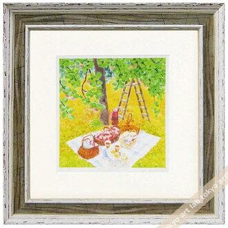 《版畫》有像蘋果園nitekurinokiharumi風景畫水彩一樣的繪畫數額繪畫額頭的水彩畫風水自然藝術面板天然藝術架子可愛的繪畫墻壁裝飾春天油菜花祝賀禮品禮物母親節祝賀新居建成彩色粉筆pastel繪畫