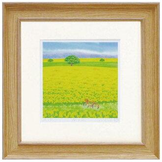 《版畫》像春天的山岡kurinokiharumi風景畫水彩一樣的繪畫數額繪畫數額從屬于的水彩畫風水自然藝術面板天然藝術架子可愛的繪畫墻壁裝飾春天油菜花祝賀禮品禮物母親節祝賀新居建成綠黄綠色green繪畫