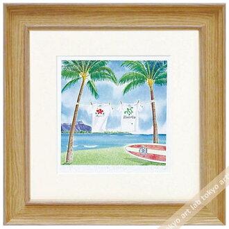 《版畫》有像海灘公園kurinokiharumi風景畫水彩一樣的繪畫數額繪畫額頭的水彩畫風水自然藝術面板天然藝術架子喜愛的繪畫墻壁裝飾祝賀禮品禮物母親節祝賀新居建成彩色粉筆pastel繪畫