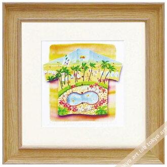 《版畫》有像夏威夷襯衫懷基基kurinokiharumi風景畫水彩一樣的繪畫數額繪畫額頭的水彩畫風水自然藝術面板天然藝術架子喜愛的繪畫墻壁裝飾祝賀禮品禮物母親節祝賀新居建成彩色粉筆pastel繪畫