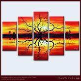 海外で人気の新スタイル油彩絵画【泉に映える神秘的な夕陽と生命の樹】大きいサイズの油絵洋画抽象画花柄/和柄/風景画などの絵画リビングダイニングキッチン玄関の壁に部屋オフィスに飾る壁掛けの絵