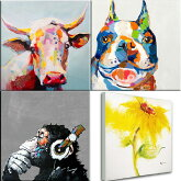 絵画壁に飾りやすい60cmサイズドラマ使用の絵牛と犬の絵ブルドッグ壁掛け人気のおサルとひまわりも再入荷ビビッドvividおしゃれなインテリアにかわいいアートでお部屋をコーディネートできしな砂の塔楽天カード分割