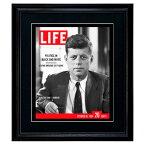LIFE アートポスター「JFK ジョン・F・ケネディ」インテリア おしゃれ 絵 写真 雑誌 表紙 黒フレーム 絵画 ライフ 復刻 フレーム付き