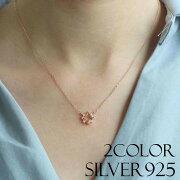 SILVER925 フラワーデザインペンダントネックレス 2カラー/スターリングシルバーネックレス 2color/sna02