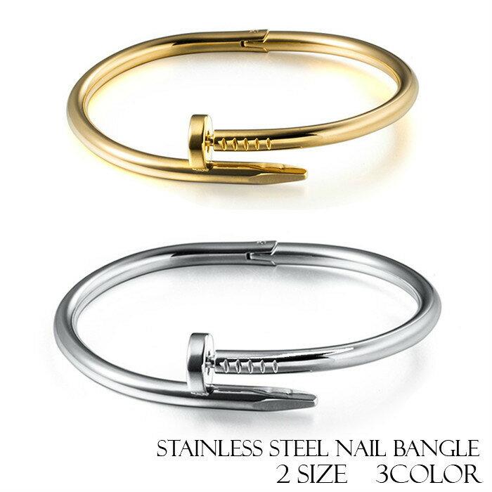 ステンレス製バングル/サージカルステンレス製ネイルバングル2サイズ3カラー釘バングル釘ブレスレット