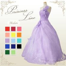 カラードレスウエディングロングプリンセスライン♪お花コサージュが可愛いオーガンジードレス!背中ゴム編み上げ♪結婚式や発表会にも!全16色(ラベンダーブルーレッドピンクイエローグリーンオレンジ)大きめサイズfk51436