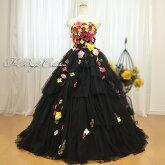 カラードレス小花たっぷり(ブラック)2233