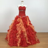 カラードレスウエディングロングプリンセスライン11号〜13号サーモンピンクが華やかなカラードレスです背中編み上げでサイズ調整可大きいサイズG2235b-samFK
