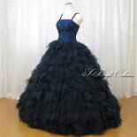 フリルたっぷりカラードレス(ネイビー)85015