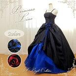 カラードレス(ブラック×ブルー/ブラック×レッド)01707