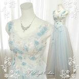 水色肩付ウェディングドレス18711