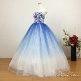 カラードレス(ブルー×ホワイト)19902