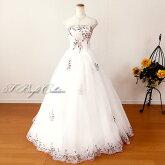ウエディングドレス(オフホワイト)花と葉の刺繍19200