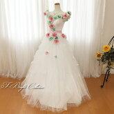 ウエディングドレス(オフホワイト)造花たっぷり19202