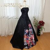 カラードレス(ブラック)スカートの花プリント2000