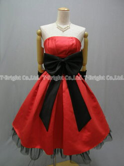 Party dress ★ minidress ★( red X black) 51329 that size order waist ribbon is pretty