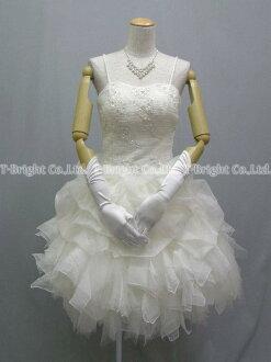 Size order organza & tulle ♪ Cute wedding dress ★ short-length ★ 51983