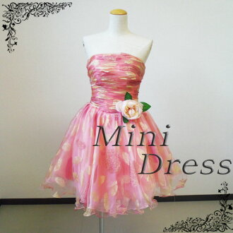 Mini dress with a corsage and lame embroidery (leaf and flower motifs) prom dress back lace up mini dress ★ hem ruffles, ruched neckline and short-length ★ 7 No.-9 No.-11 no. ★ (Pink) 30126