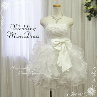 (Back in stock) miniweding dress minidress ★ No.7-No.9-11 ★ off-white popular Mini dress has been improved! you can tweak the size with back lace-up! 30197 white mini length party 3 1.5: meeting ruffle embroidered bride costume bride Ribbon Bijou