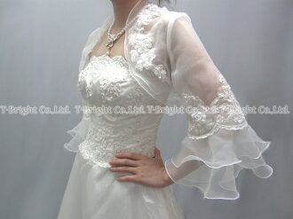 Wedding Bolero ♪ Bellerive organza Bolero ★ S to M size ★ off-white (bo001)