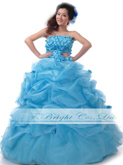 Size order back lace-up ♪ cute fluffy full of small flowers around organdy dress ★ Princess ★ (blue) tb428