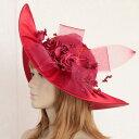 【エレガントハット】高級ウェディングハット(帽子) ヘッドドレス ワインレッド 赤 真紅 コスチュームハット ドレスハット コームなし バラのコサージュが素敵 パーティー ミュージカル 中世貴族 ダンス イベント 結婚式 舞台衣装 お姫様 hd1860r-t