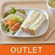 ランチプレート 仕切りランチプレート (NEW)スクエア ホワイト(アウトレット)白いお皿/子供用食器/仕切り皿/カフェ食器/モーニングプレート/ポーセリンアート