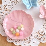 パステルカラーお花の小皿(ピンク)(アウトレット込み)和食器/お皿/花型/プレート/椿/ピンクの食器