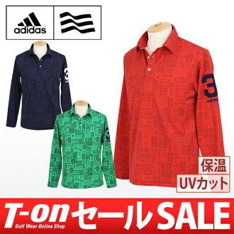 Adidas / 阿迪達斯高爾夫 polo 衫長袖幹感覺溫暖 UV 切符號模式 /adidas 阿迪達斯高爾夫高爾夫高爾夫潔具