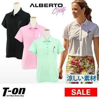 [50%OFF SALE]阿爾貝托/阿爾貝托日本正規的物品/開領短袖襯衫短袖開領短袖襯衫軟體小鹿搖擺高爾夫球女士金色金屬線印刷金屬印刷簡單設計ALBERTO[女士]阿爾貝托日本正規的物品高爾夫球服裝