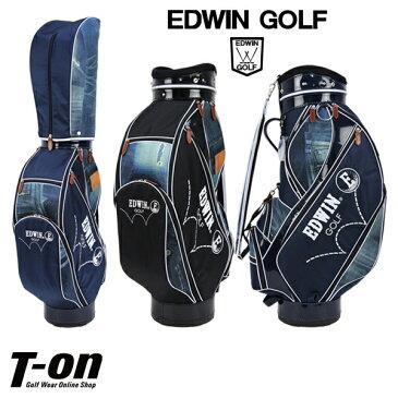 エドウィン エドウィンゴルフ EDWIN golf メンズ レディース キャディバッグ 9型 4.7インチ対応 異素材切り替えデザイン ジーンズ柄プリント エナメル調ディテール ロゴ刺繍 【送料無料】 ゴルフ