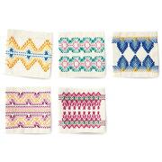 .オリムパススウェーデン刺繍キットコースター(5枚1組)カラフルSW-17