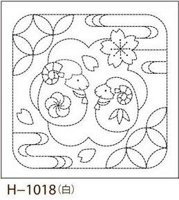 オリムパス製絲 刺し子 花ふきん 布パック 未(ひつじ)と七宝つなぎ 白 伝統柄 H-1018