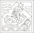 ●メール便● 刺し子 花ふきん布パック 白 端午の節句 オリジナル柄 オリムパス製絲 H-1026