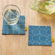 .送料無料ルシアンhidamariSASHIKOひだまり刺し子キット刺し子のペアコースターブルー98952刺しゅう伝統的刺繍技法