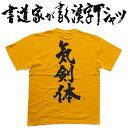 【気剣体(縦書)】書道家が書く漢字Tシャツ おもしろTシャツ...