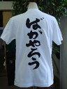 【ばかやろう(縦書)】書道家が書く漢字Tシャツ おもしろTシャツ 本物の筆文字を使用したオリジナルプリントTシャツ書道家が書いた文字を和柄漢字Tシャツにしました☆今ならオリジナルTシャツ2枚以上で【送料無料】☆ 名入れ 誕生日プレゼント 【楽ギフ_名入れ】 pt1 ..