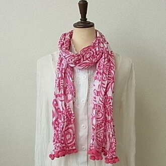 Pom Pom with white floral-3 colors-crinkle cotton scarf ★
