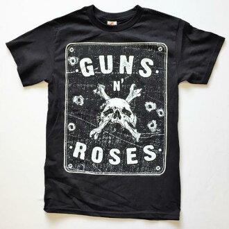 鎖頭T恤帶T恤GUNS N ROSES更斯·和·玫瑰SKULL&BONES印刷T恤限定T恤短袖T恤圓領T恤ROCK人T恤T恤