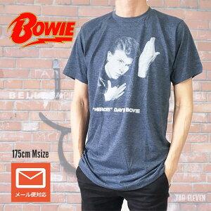 ロックTシャツ バンドTシャツ David Bowie デビッド・ボウイ HEROES ヒーローズ バンドT ボウイT 回顧展 グレー ROCK メンズTシャツ Tシャツ おすすめ 人気