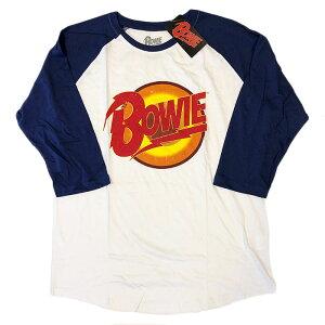 バンドTシャツ David Bowie デビッド・ボウイ Diamond Dog Logo ベースボールTシャツ ダイアモンドドッグ バンドT ボウイT 回顧展 ホワイト ROCK メンズTシャツ Tシャツ