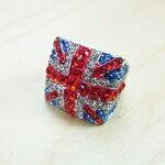 【ゆうパケットOK♪】ラインストーンユニオンジャックリング英国旗