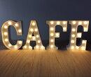 電球カフェサインCAFEアメリカン23センチネオン看板メタルホワイト電飾インダストリアルサインホワイト