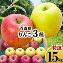 りんご 詰め合せ 15kg 青森県 ギフト 赤りんご 青りんご 優秀 林檎 さんふじ 蜜入り リンゴ おまかせ 農家直送 15キロ 送料無料 プレゼント のし対応 贈り物