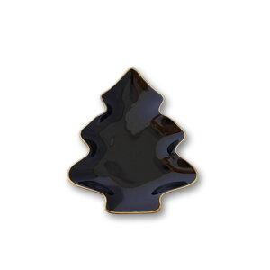【プレミアム】黒ツヤ ツリープレート大 ゴールドライン入り 日本製 磁器 ケーキ皿 陶器絵付け ポーセリンアート クリスマス 食器 皿 黒