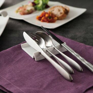 受け皿付き 4連 カトラリーレスト アウトレット含む ナイフ フォーク スプーン レスト 箸置き 縦置き 白い食器 おしゃれ 業務用 はしおき 白 食器